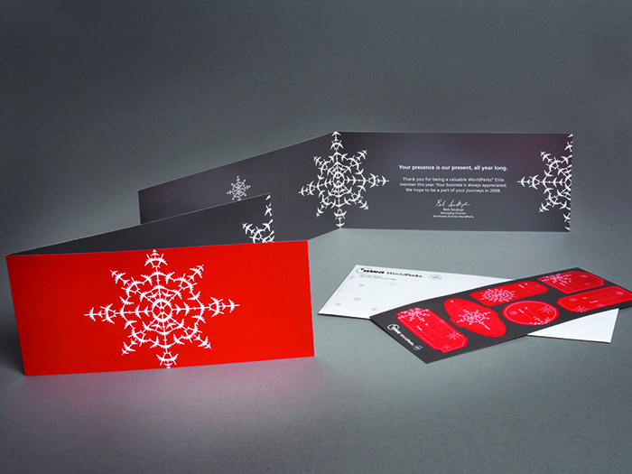 Northwest Airlines Airplane Snowflake Holiday Card
