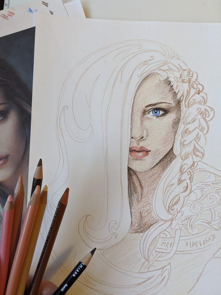"""Eelyn """"Sky in the Deep"""" by Adrienne Young. Fan art work in progress illustration by Aurora Whittet Best."""