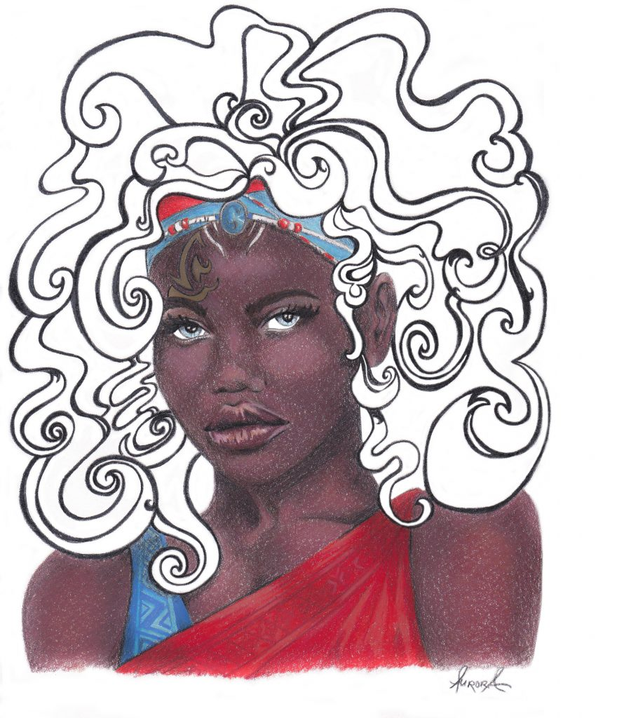 Children of Blood and Bone Fan-art illustration Zélie Portrait by Aurora Whittet Best, redorganic.com