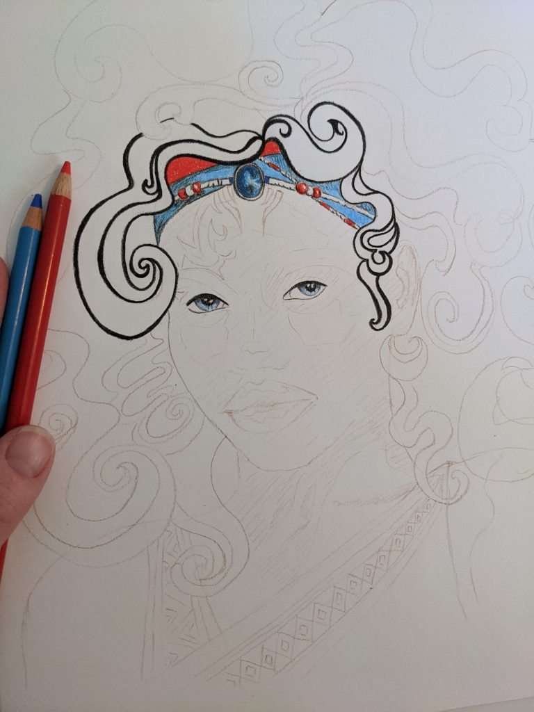 Zelie fan art illustration stage 1, illustrated by Aurora Whittet Best redorganic.com