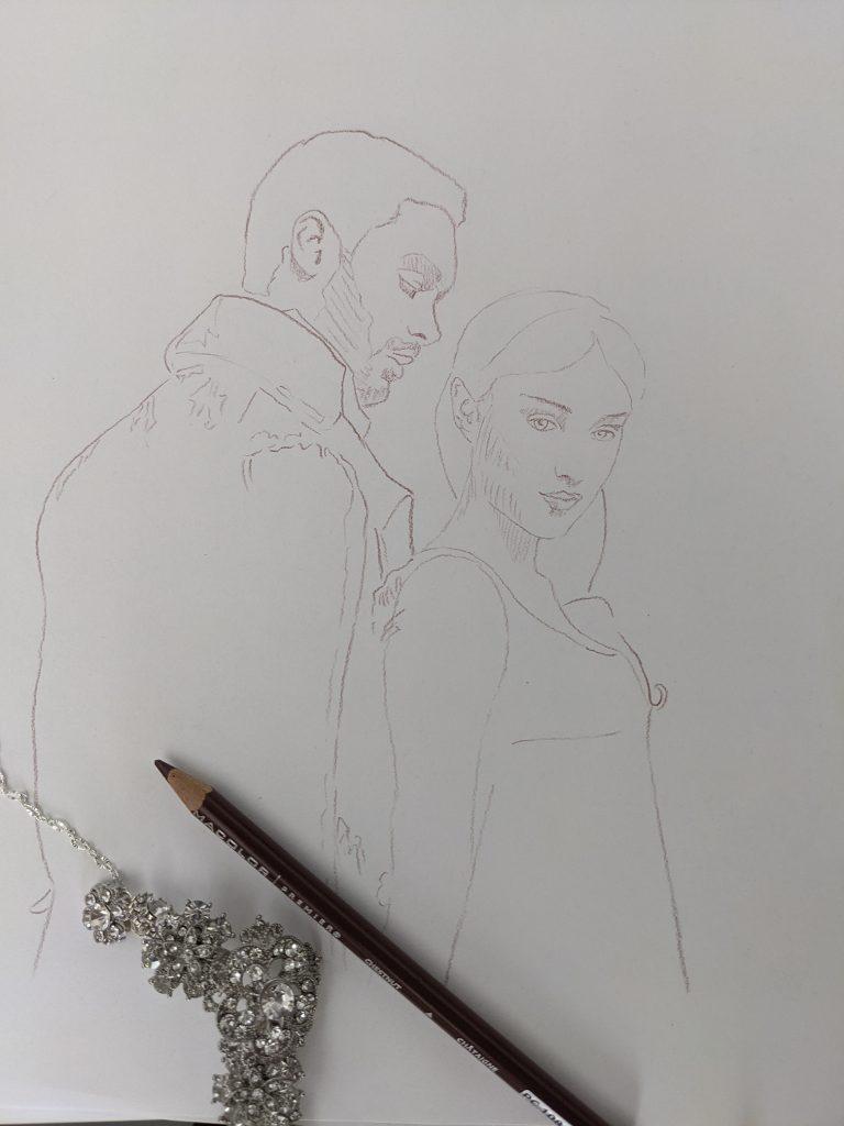 Bridgerton Daphne and Simon fan art illustration by Aurora Whittet Best at redorganic.com
